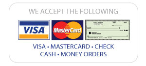 Visa, MasterCard, Check, Money Order, CashDiscover, Credit Care, Delta Dental